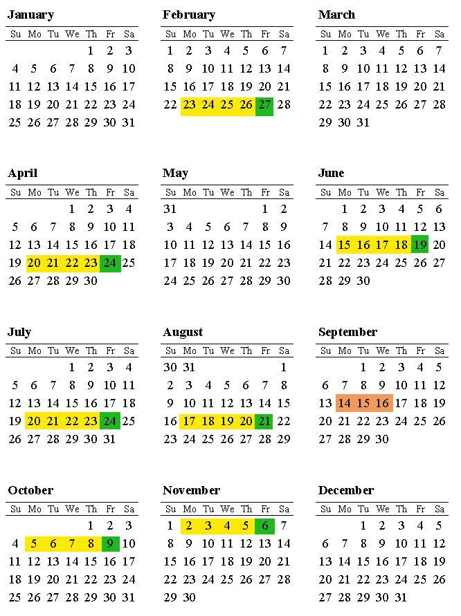Factory Training Calendar