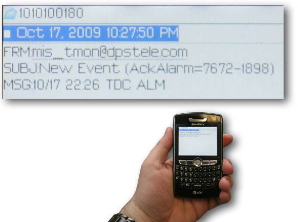 The T/Mon NOC alarm master can send text message alarms to your BlackBerry (R) smartphone.