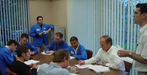 Carberry coordinates his engineering team with weekly meetings.