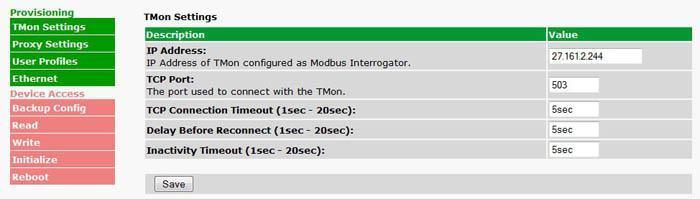The ModbusProxy's Web Interface