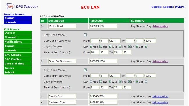 The ECU LAN's simple Web Interface